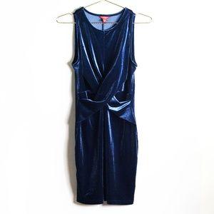Guess Blue Velvet Bodycon Dress M
